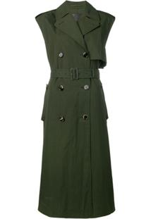 Bottega Veneta Trench Coat Sem Manga Com Cinto - Verde