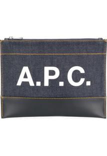 A.P.C. Logo Print Denim Clutch - Azul