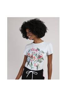 "Blusa Feminina Future Is Now"" Com Flores Manga Curta Decote Redondo Cinza Mescla"""