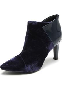 Ankle Boot Dafiti Shoes Veludo Recorte Azul-Marinho