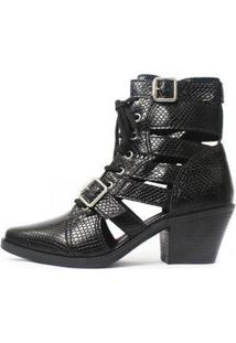 Bota Gladiadora Damannu Shoes Jennie Feminina - Feminino-Preto+Off White