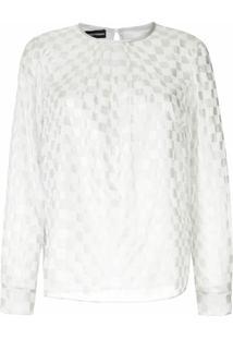 Emporio Armani Blusa De Seda Quadriculada Transparente - Branco
