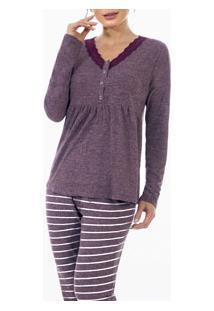 Pijama Longo Gestante Renda Com Peitilho Abotoável Laibel (15.011487) Vinho