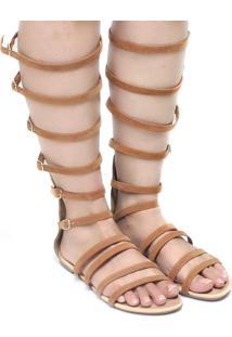 Sandália Zariff Shoes Gladiadora Camurça Marrom