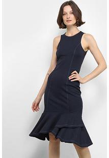 Vestido Midi Colcci Peplum - Feminino-Azul Claro