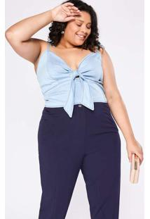 Top Cropped Almaria Plus Size Izzat Jeans Azul