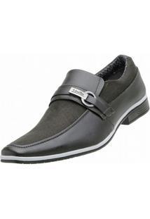 Sapato Social Venetto Lona Jeans - Masculino-Preto