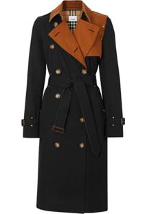 Burberry Two-Tone Cotton Gabardine Trench Coat - Preto