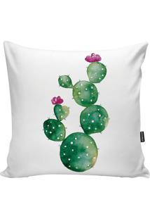 Capa Para Almofada Cactus- Verde & Branca- 45X45Cm
