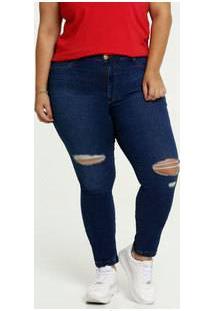 Calça Jeans Destroyed Skinny Feminina Plus Size