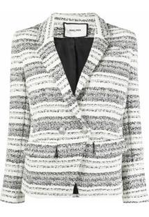 Max & Moi Jaqueta De Tweed Com Abotoamento Duplo E Listras - Branco