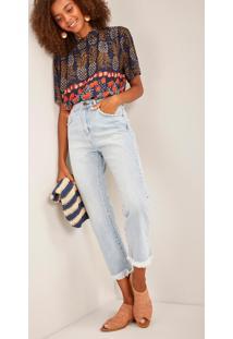 Calça Jeans Reta Cintura Alta Algodão Jeans