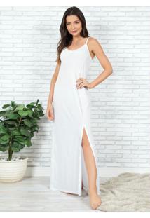 Camisola Longa Branca Com Renda E Fenda