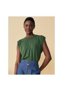 Amaro Feminino Blusa Muscle Com Pregas, Verde Militar