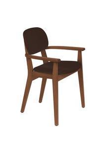 Cadeira Com Braço Tramontina 14061134 London Amêndoa Estofado Café