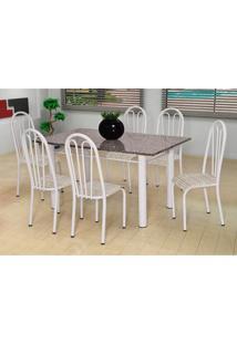 Conjunto De Mesa Carla Com 6 Cadeiras Branca Rattan