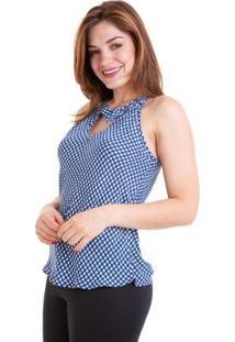 Blusa Regata Xadrez Gola Fivela G Feminina - Feminino-Azul