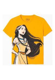 Blusa Manga Curta Estampa Pocahontas | Disney | Amarelo | Pp