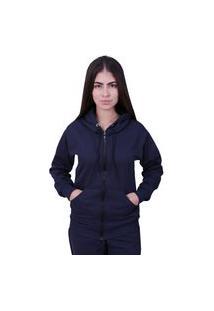 Blusa Moletom Com Ziper Plus Size Azul Marinho