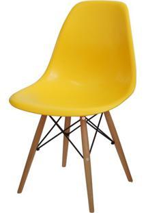 Cadeira Eames Polipropileno Amarelo Base Madeira - 14911 Sun House