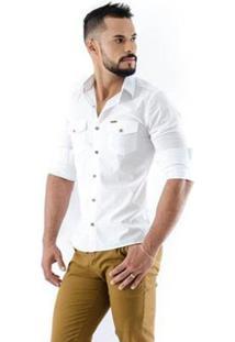 Camisa Amil Safari Slim Manga Longa Masculina - Masculino-Branco