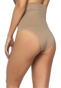 Calcinha Modeladora Zee Rucci Tanga Alta Sem Costura Pele - Bege - Feminino - Poliamida - Dafiti