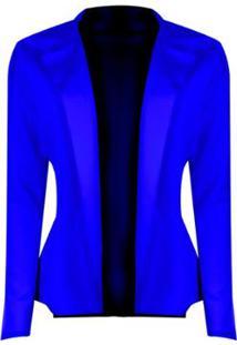 Blazer Outlet Dri Neoprene Sem Botão Detalhe Lateral Babado - Feminino-Azul