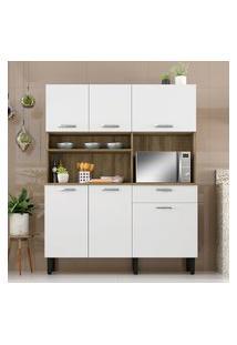 Armário Para Cozinha 6 Portas 1 Gaveta Itatiaia Móveis I1 Castanho E Branco