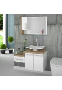 Conjunto Para Banheiro Gabinete Com Cuba F44 E Espelheira Legno 830W Branco/Carvalho