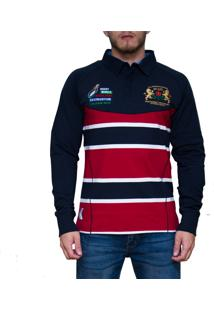 Blusa Kevingston Brown Rugby Vermelha Listrado