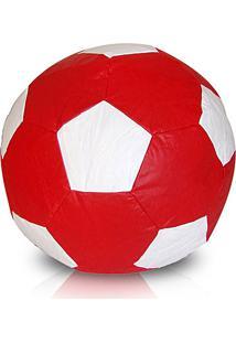 Puff Infantil Bola De Futebol Em Courino - Vermelho E Branco - Stay Puff