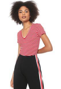 Camiseta Coca-Cola Jeans Listrada Vermelha/Off-White