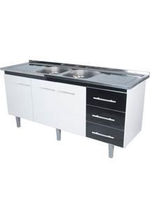 Gabinete De Cozinha Lyon 53X174,4Cm Branco E Preto Bonatto