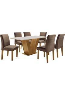 Conjunto Sala De Jantar Mesa Tampo Mdf 6 Cadeiras Espanha Siena Móveis Ypê