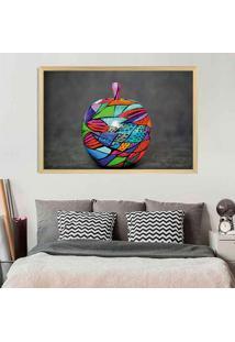 Quadro Com Moldura Colored Apple Madeira Clara - Grande