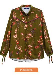 Camisete Verde Floral Em Viscose