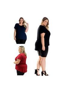 Kit 3 Blusas Plus Size Feminina Mulher Única Tampa Bumbum Preto/ Bordo/ Marinho