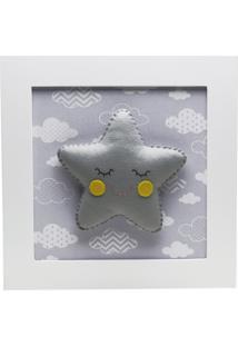 Quadro Decorativo Estrela Com Carinha Quarto Bebê Infantil Potinho De Mel Cinza