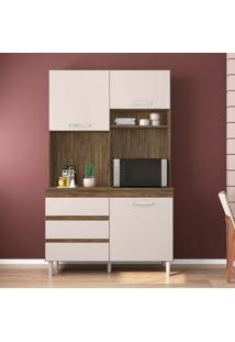 Cozinha Compacta Smart 3 Pt 3 Gv Marrom Escuro E Champanhe