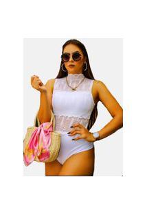 Body Gola Alta Summer Body Renda E Transparência Regata Machão Branco