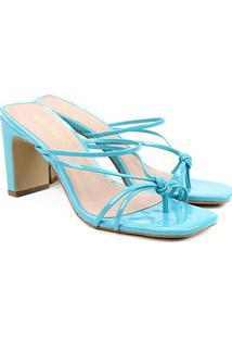 Sandália Ramony Multi Tiras Nó Verniz Feminina - Feminino-Azul