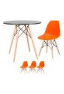 Conjunto De Mesa Eames 80 Cm Preto + 3 Cadeiras Eames Eiffel Dsw Laranja