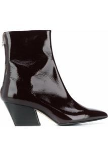 Aeyde Ankle Boot Envernizado Bico Fino - Vermelho