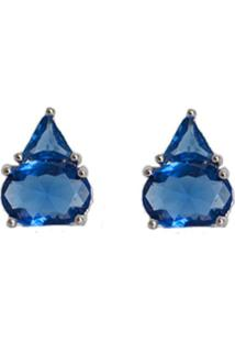 Brinco Folheado A Ródio Ania Store Pingo Azul - Kanui
