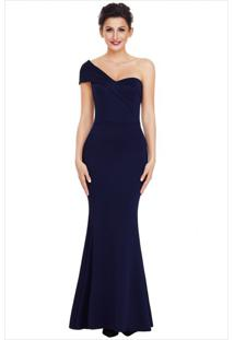 Vestido Longo Elegante Assimétrico Ombro Único - Azul Escuro P