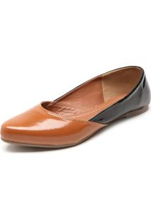 Sapatilha Dafiti Shoes Recorte Caramelo/Preta