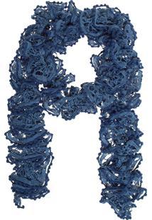 Echarpe Fiveblu Crochê Azul