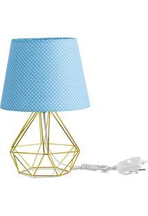 Abajur Diamante Dome Azul/Bolinha Com Aramado Dourado - Azul - Dafiti