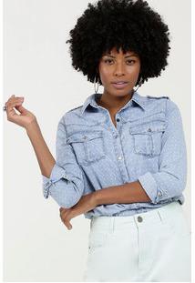 Camisa Feminina Jeans Manga Longa Gups