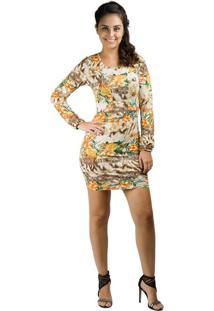 Vestido Banna Hanna De Visco C Rec Busto Bege/Café/Laranja M